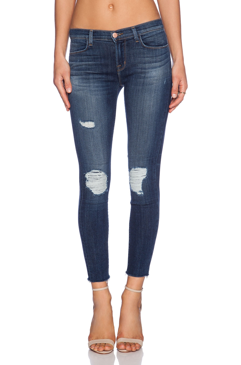 J Brand Cropped Mid Rise Skinny in Trouble Maker