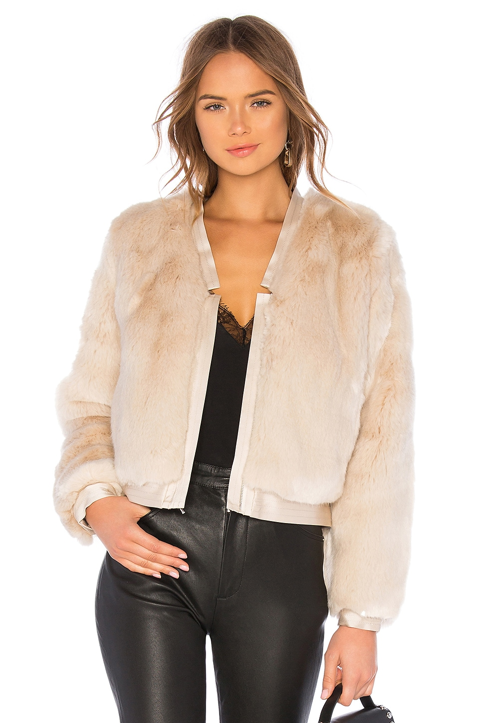 J Brand Ashbey Faux Fur Jacket in Champagne