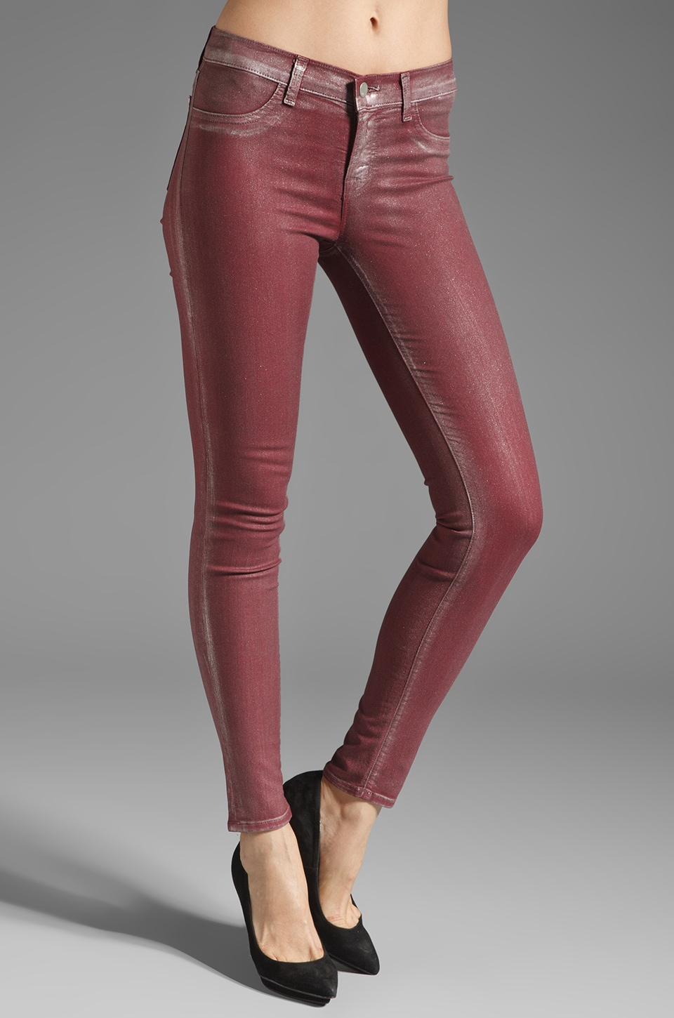 J Brand Coated Skinny in Ruby Bullet