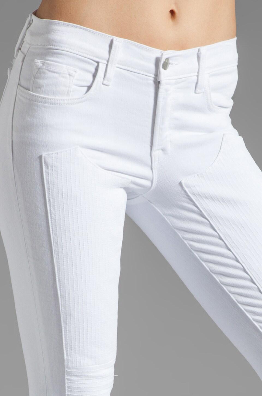 J Brand Roz Mid Rise Stitch Skinny in Blanc