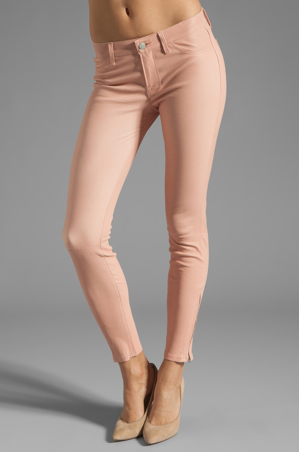 J Brand Super Skinny Leather in Blossom