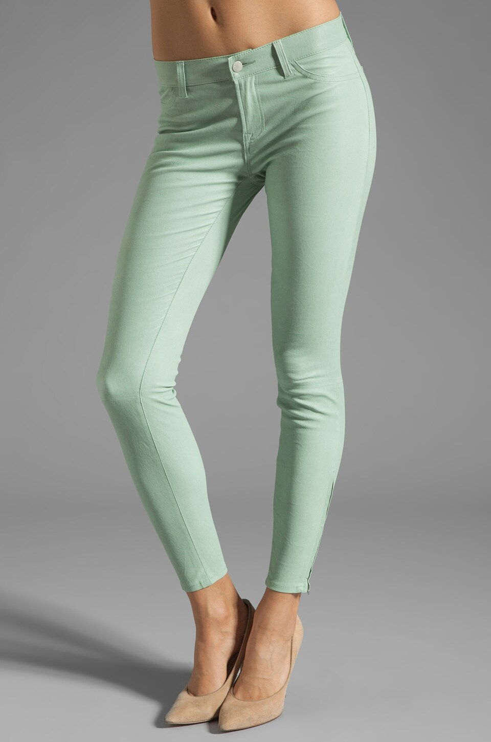 J Brand Super Skinny Leather in Mint