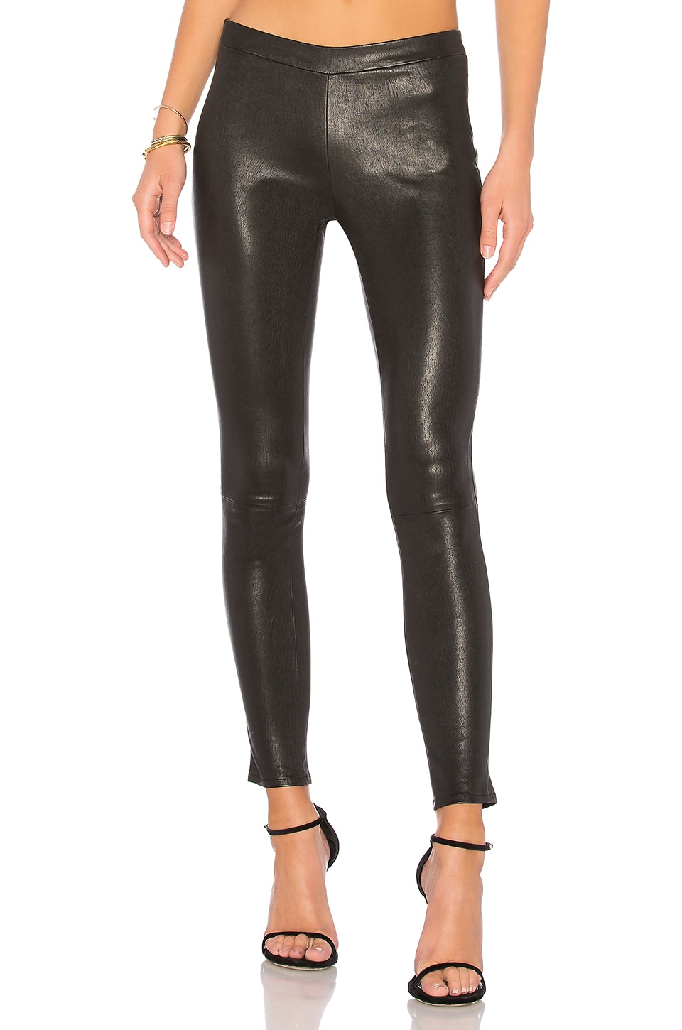 J Brand Leather Pull Up Legging in Black