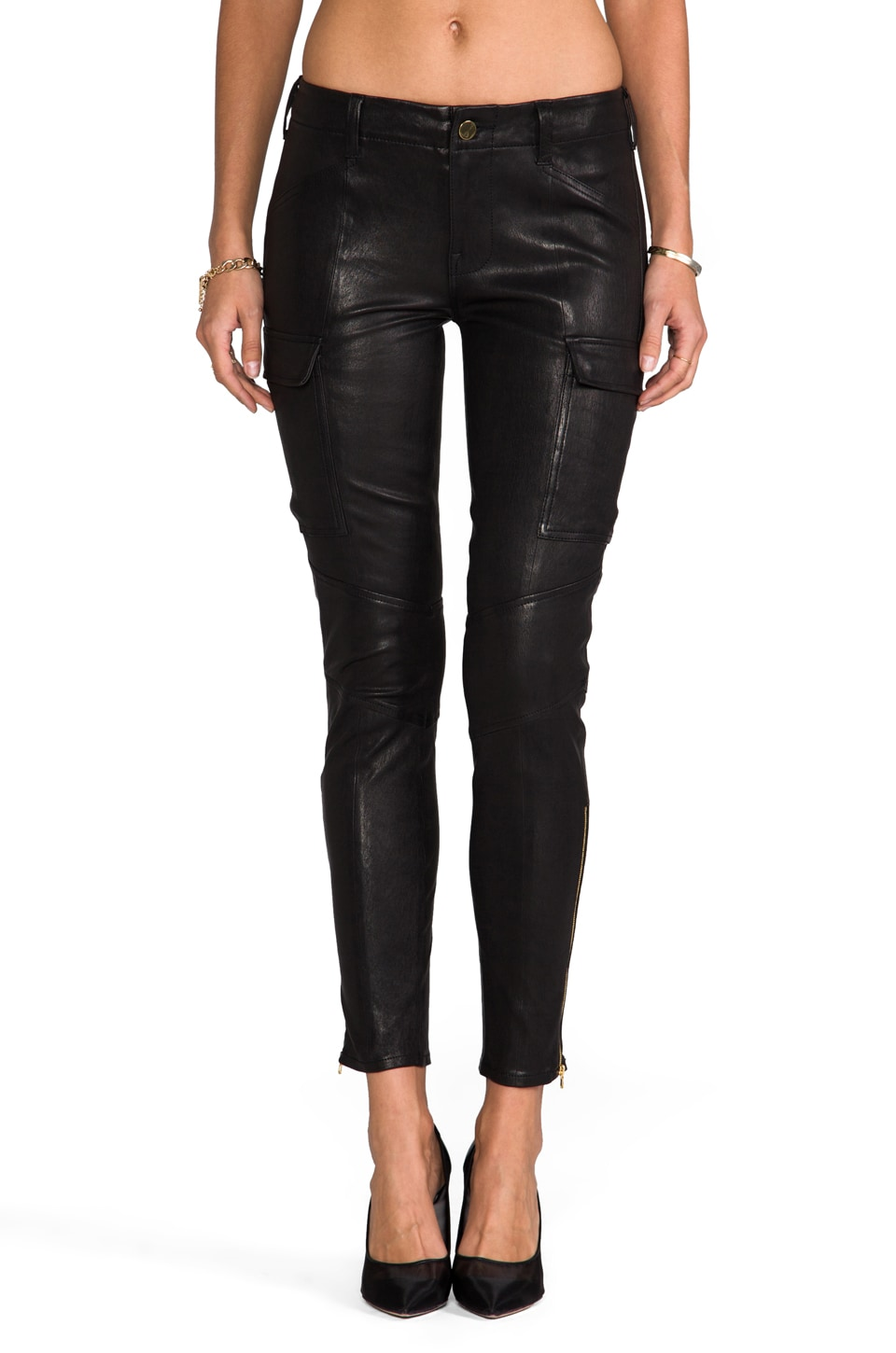J Brand Leather Houlihan in Noir