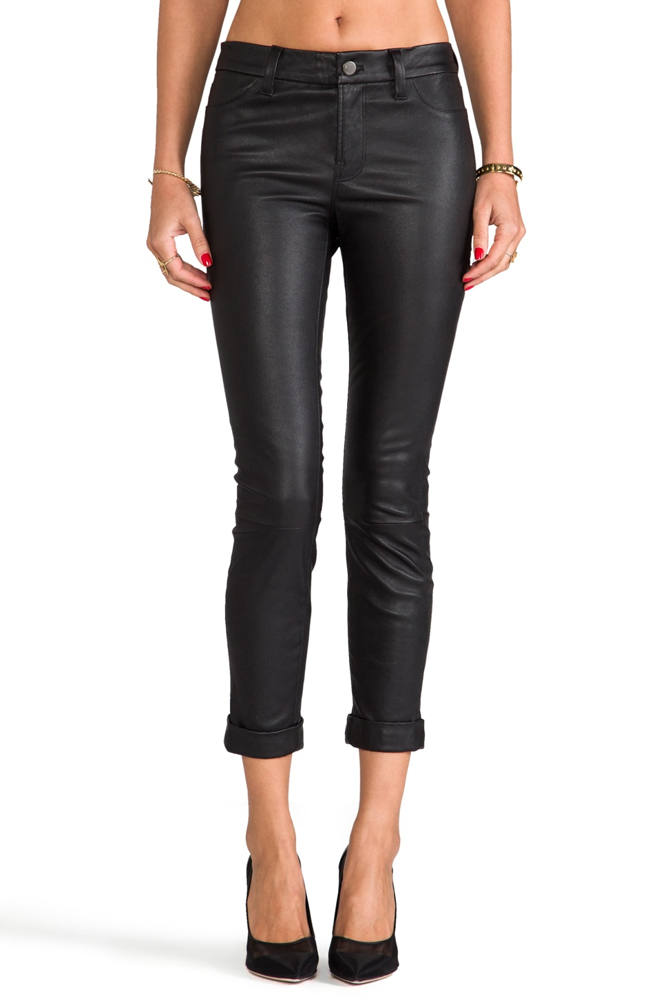 J Brand Anja Leather Skinny in Black