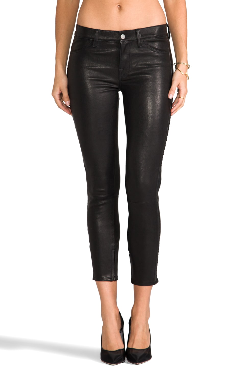 J Brand Bonded Studded Leather Pant in Noir