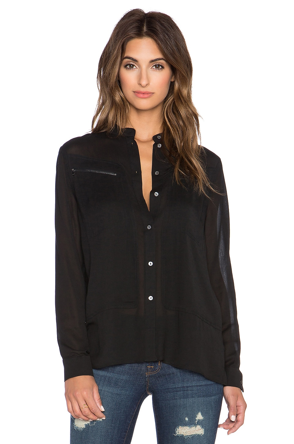 J Brand Irina Button Up Shirt in Black