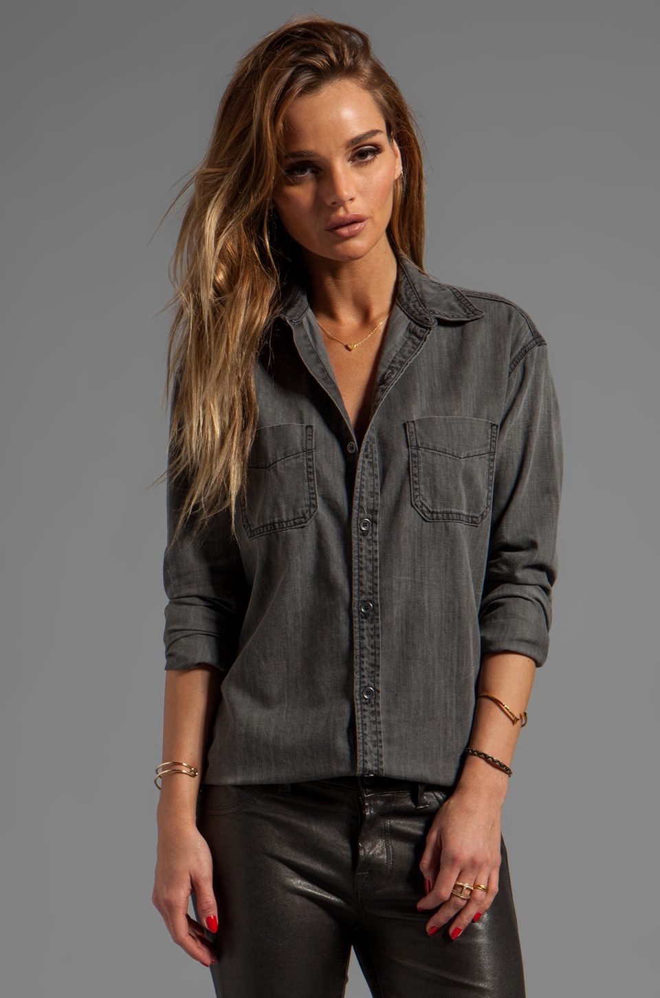 J Brand Boyfriend Marlow Shirt in Sphinx