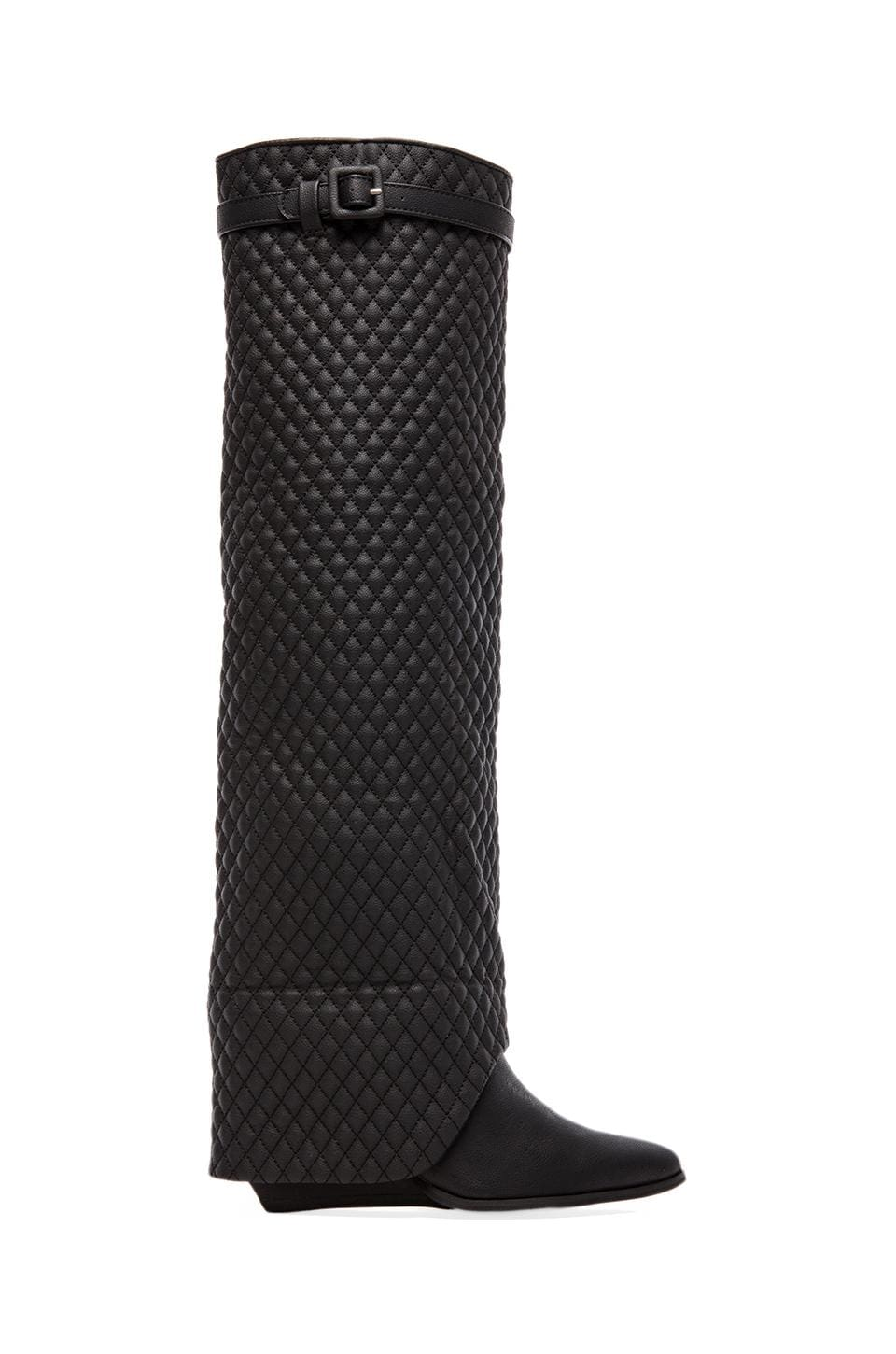 Jeffrey Campbell Workin Q Foldover Boot en Black Quilted