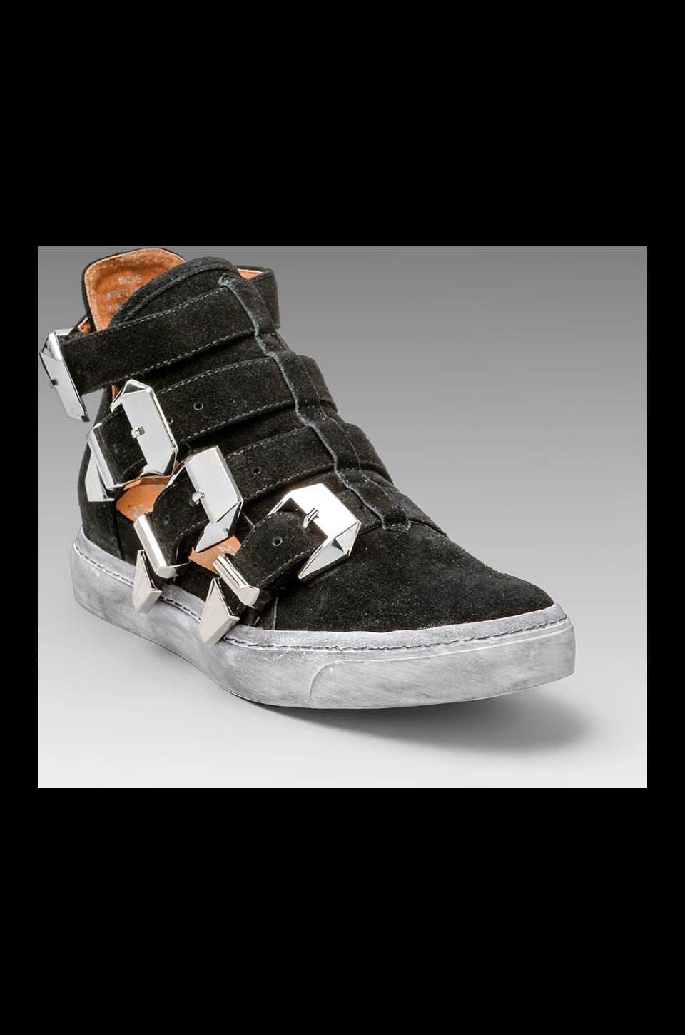 Jeffrey Campbell Indie Cut Out Sneaker in Black Suede/Silver