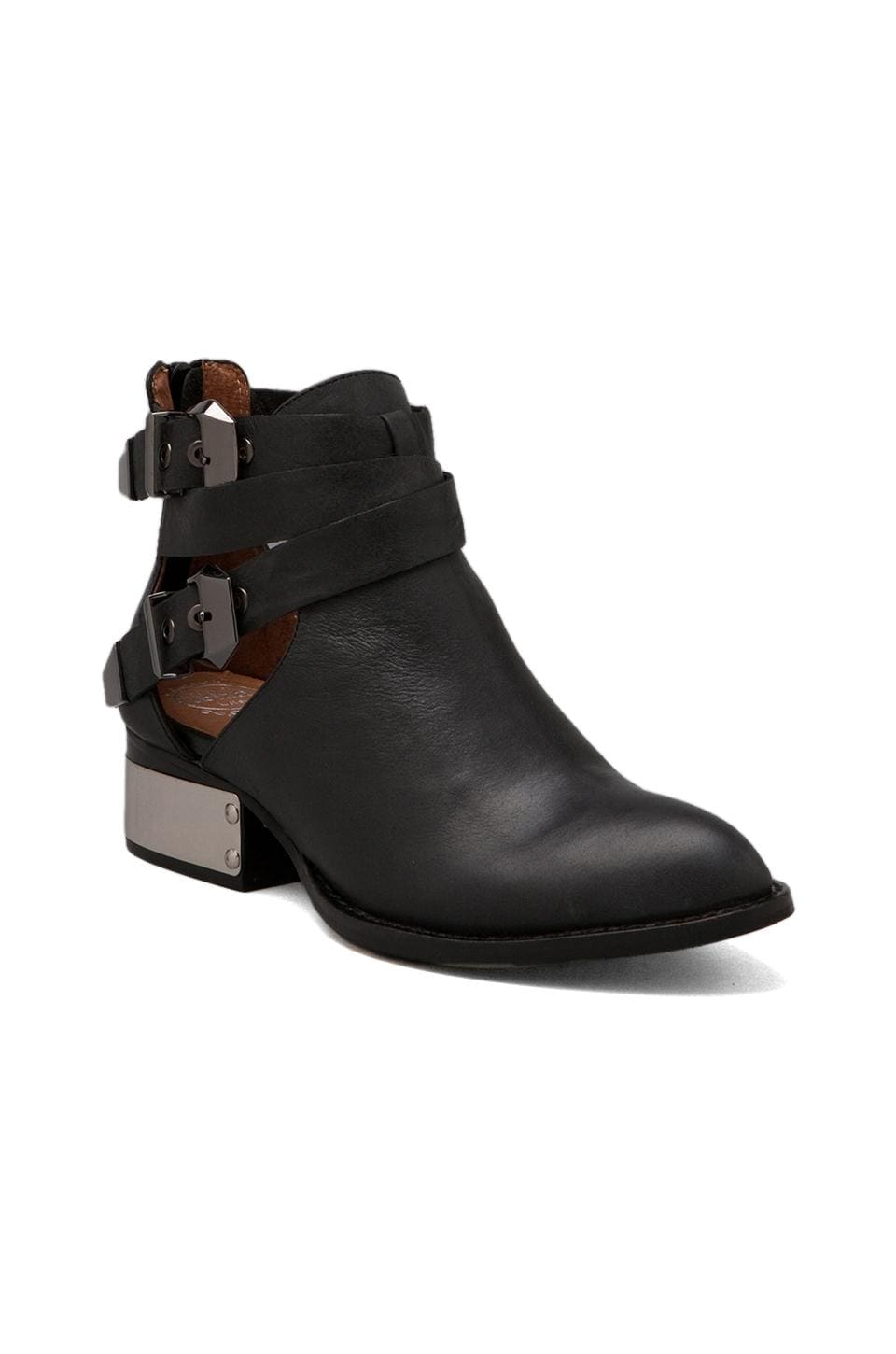 Jeffrey Campbell Everly Bootie w/ Buckles in Black/Silver