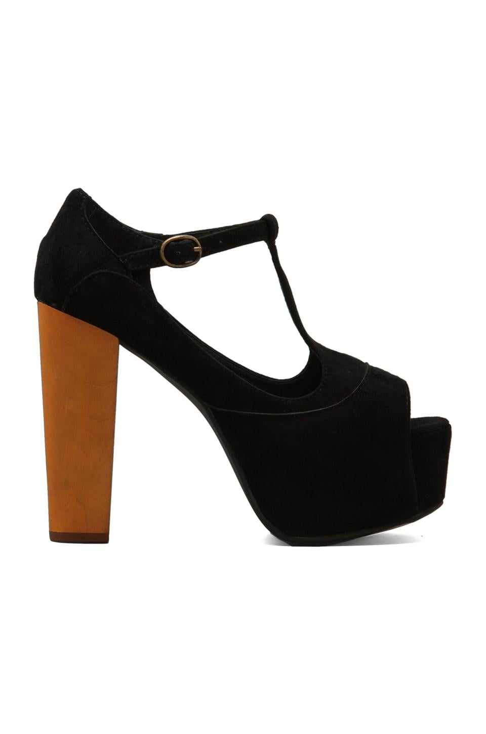 Jeffrey Campbell Foxy Platform w/ Wood Heel in Black Suede