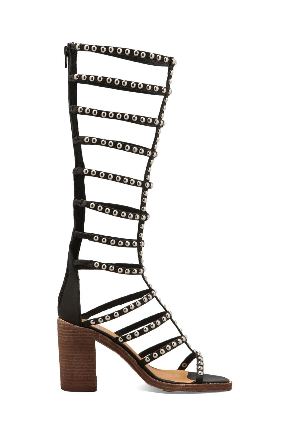 Jeffrey Campbell Lacage-St in Black Leather Silver