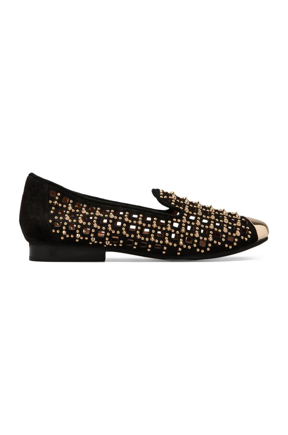 Jeffrey Campbell Hale-Spk in Black Suede Gold