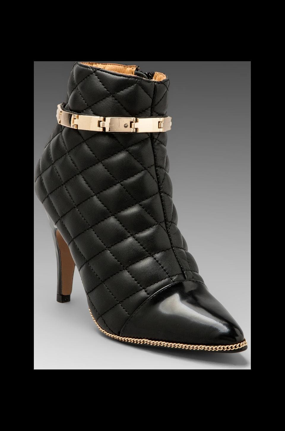 Jeffrey Campbell Jessa Link in Black Quilt/Gold Combo