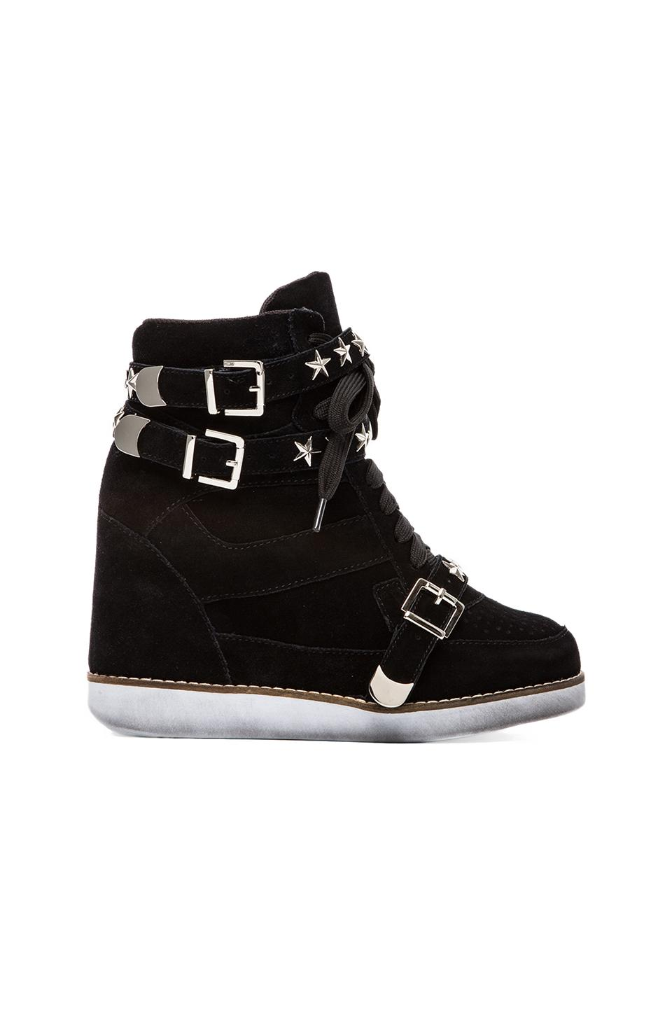 Jeffrey Campbell EXCLUSIVE Bonn Star Suede Wedge Sneaker in Black
