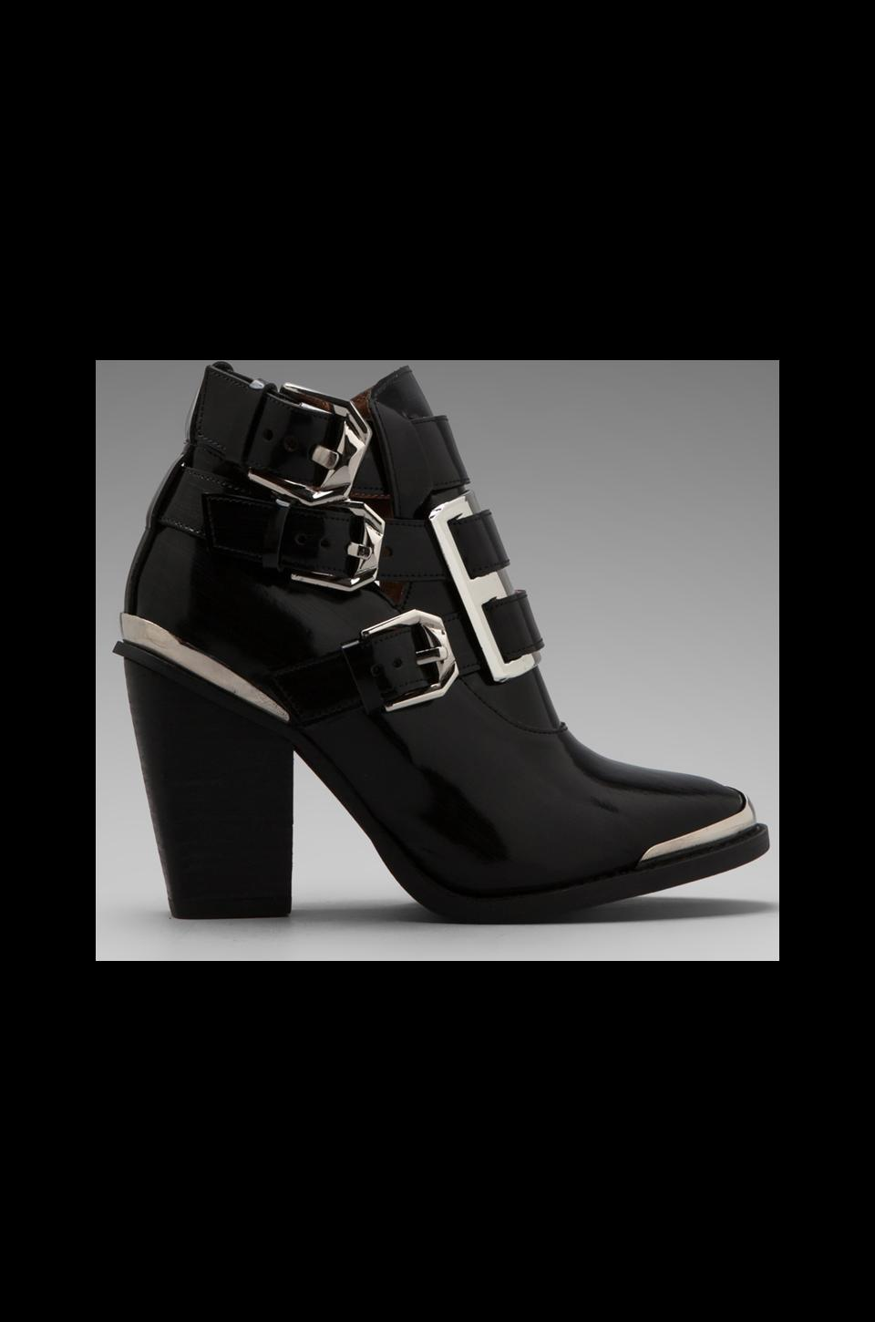 Jeffrey Campbell Hyatt Bootie with Buckles in Black/Silver