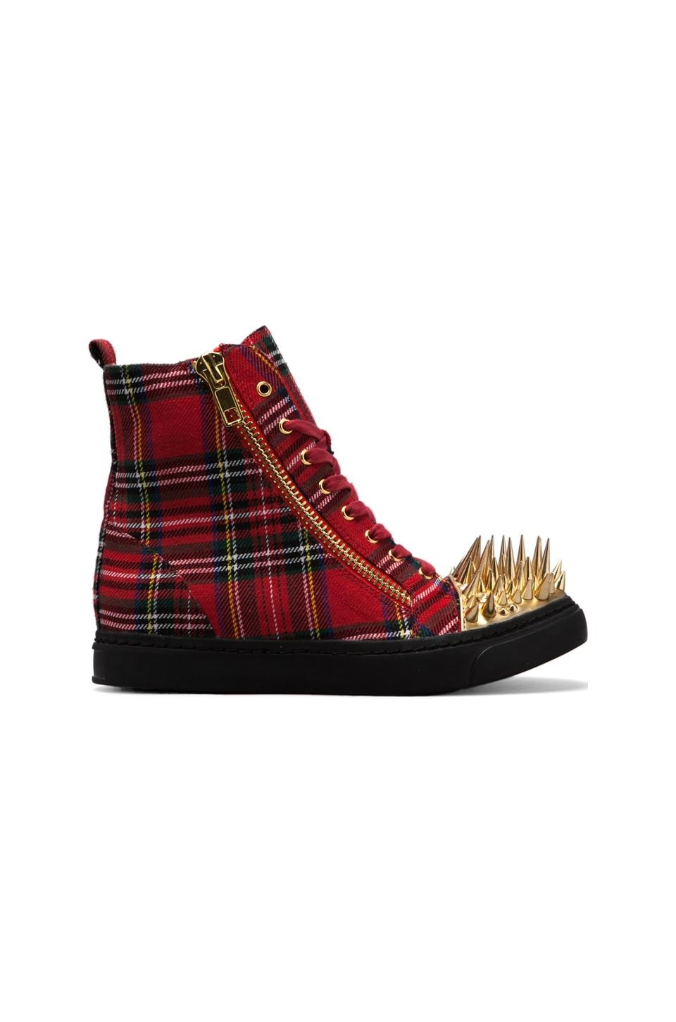 Jeffrey Campbell Sneakers Hi-Top Adams en Red Plaid/Gold