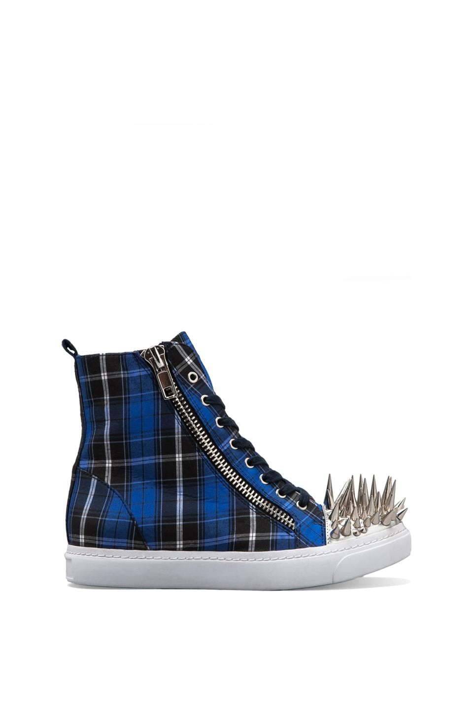 Jeffrey Campbell Adams Hi-Top Sneaker in Blue Plaid/Silver