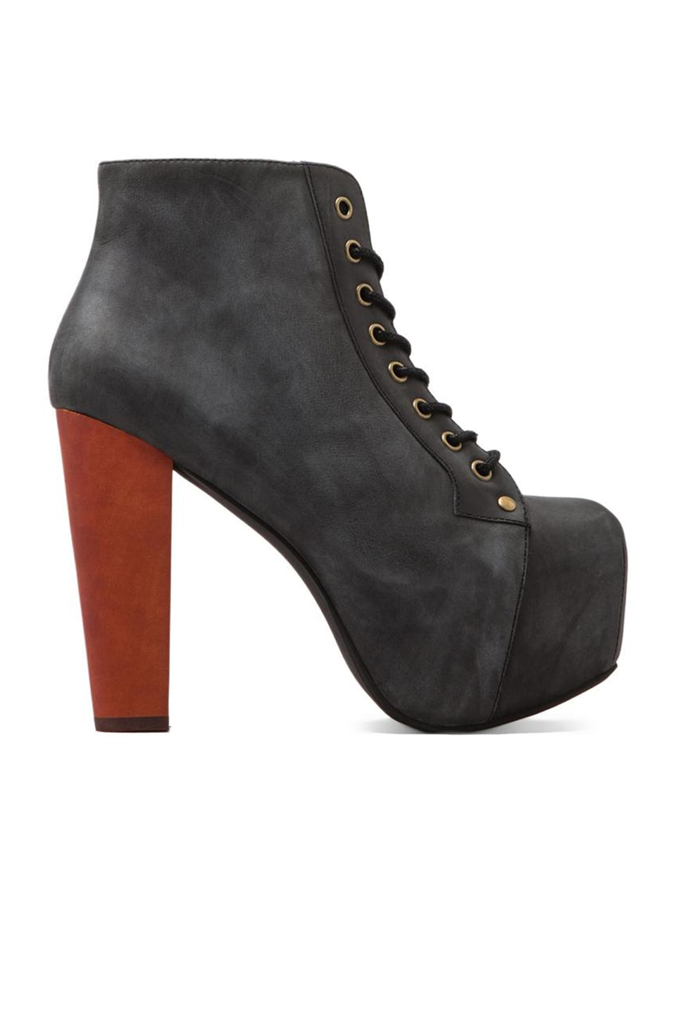 Jeffrey Campbell Lita Platform Lace-up Boot in Black Distressed