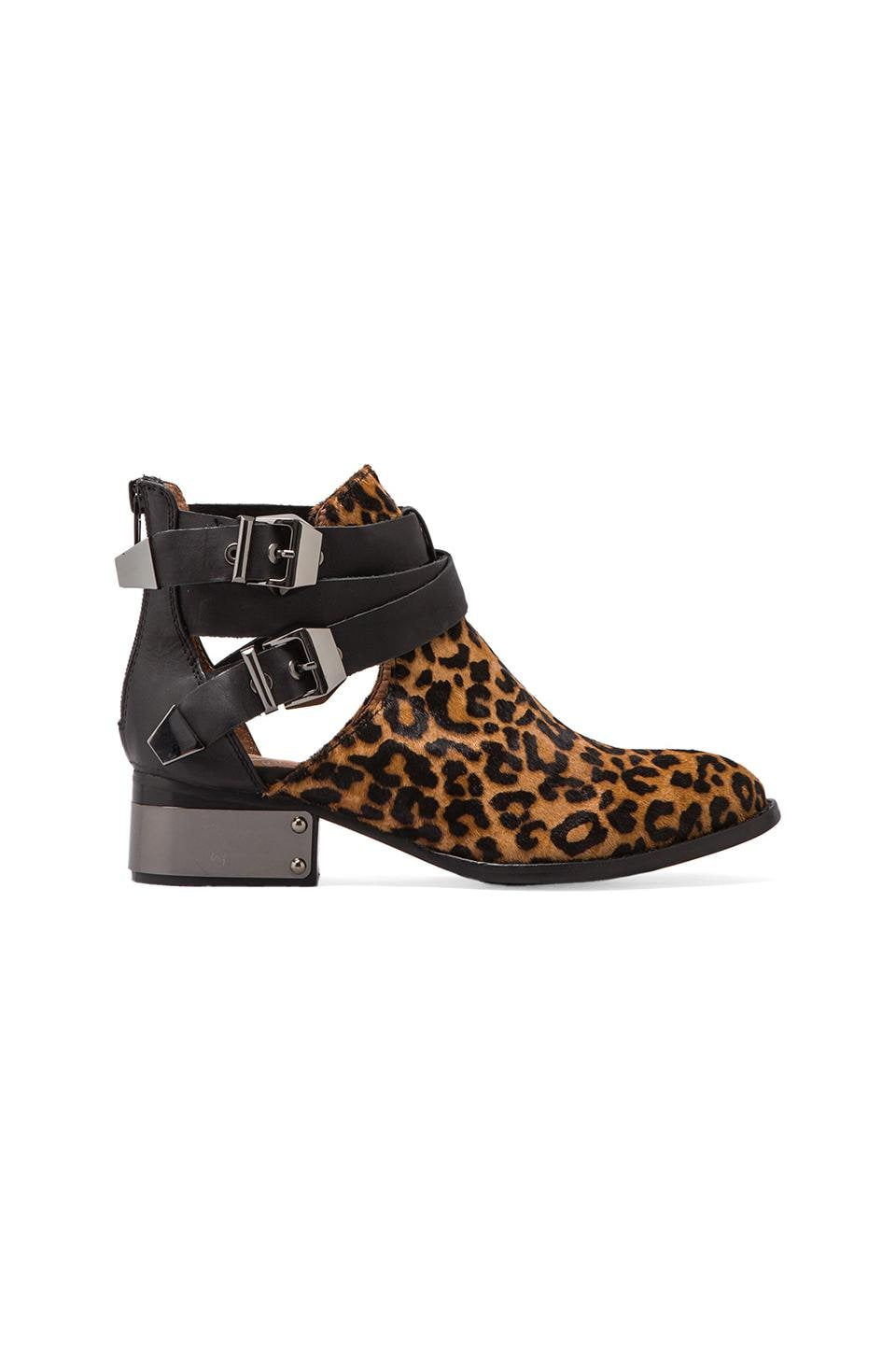 Jeffrey Campbell Everly Bootie with Calf Fur in Cheetah/Black