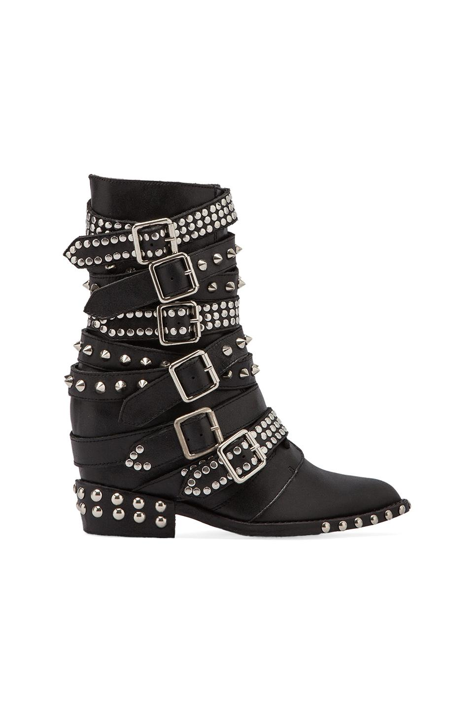Jeffrey Campbell Draco Embellished Moto Boot in Black/ Sliver