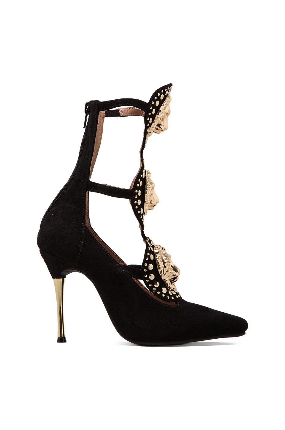 Jeffrey Campbell Mekka Embellished Heel in Black/ Gold