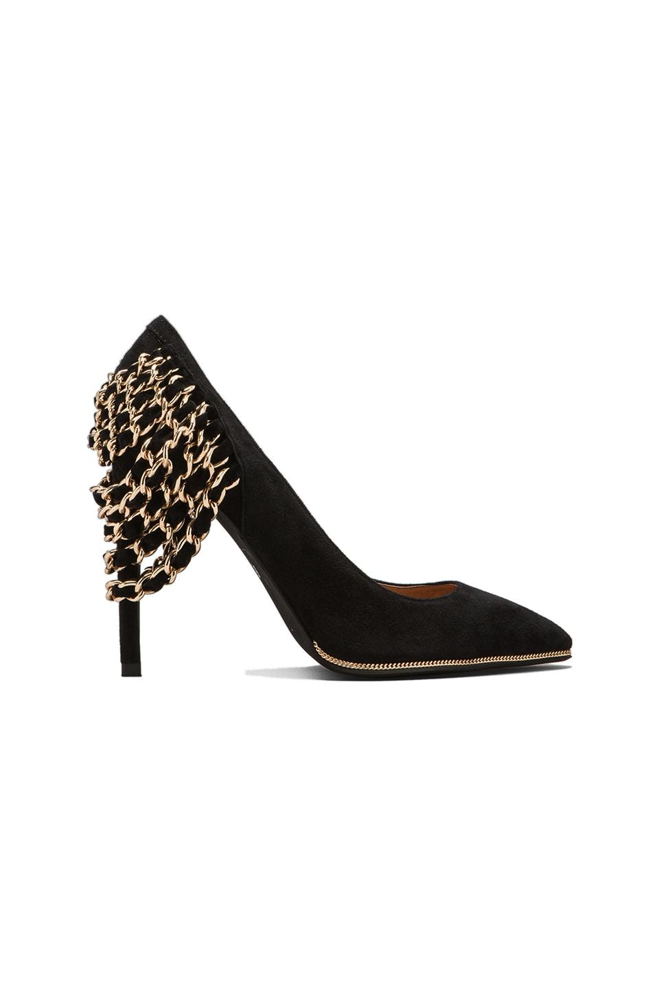 Jeffrey Campbell Back Chain Suede Heel in Black/Gold