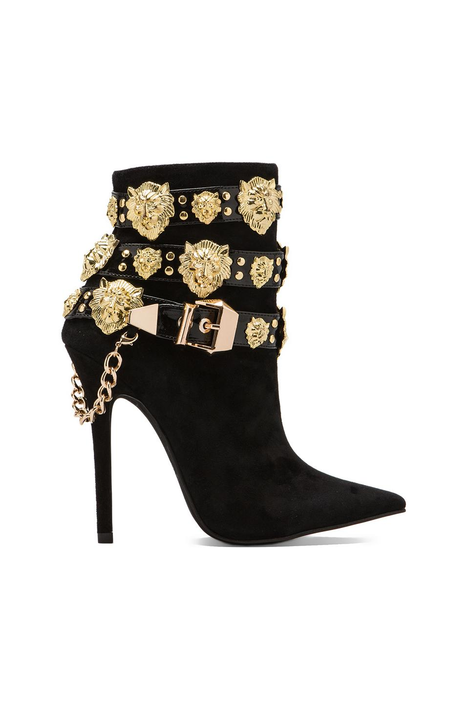 Jeffrey Campbell Rokbar Embellished Boot in Black/Gold