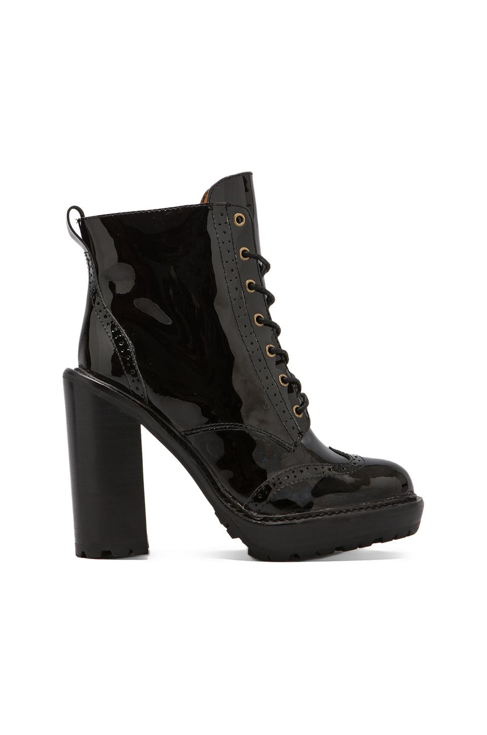 Jeffrey Campbell Forks Lace Up Leather Boot in Black Leather