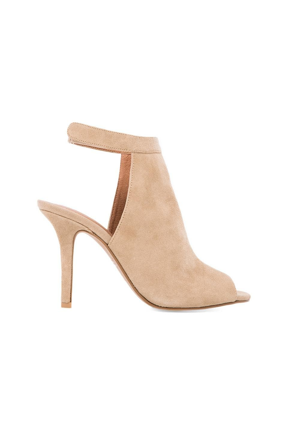 Jeffrey Campbell Lorah Open Toe Bootie in Nude Suede