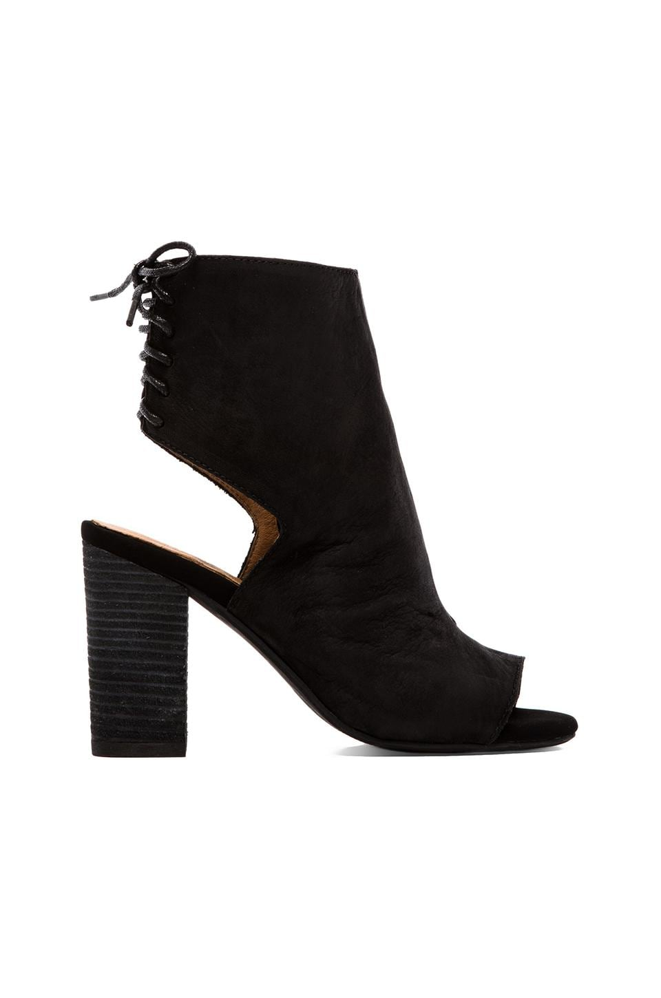 Jeffrey Campbell Quincy Open Toe Heeled Booty in Black Nubuck