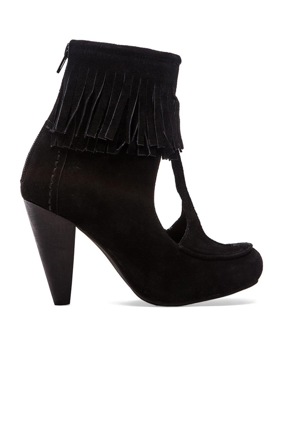 Jeffrey Campbell Fringe Heel in Black Suede