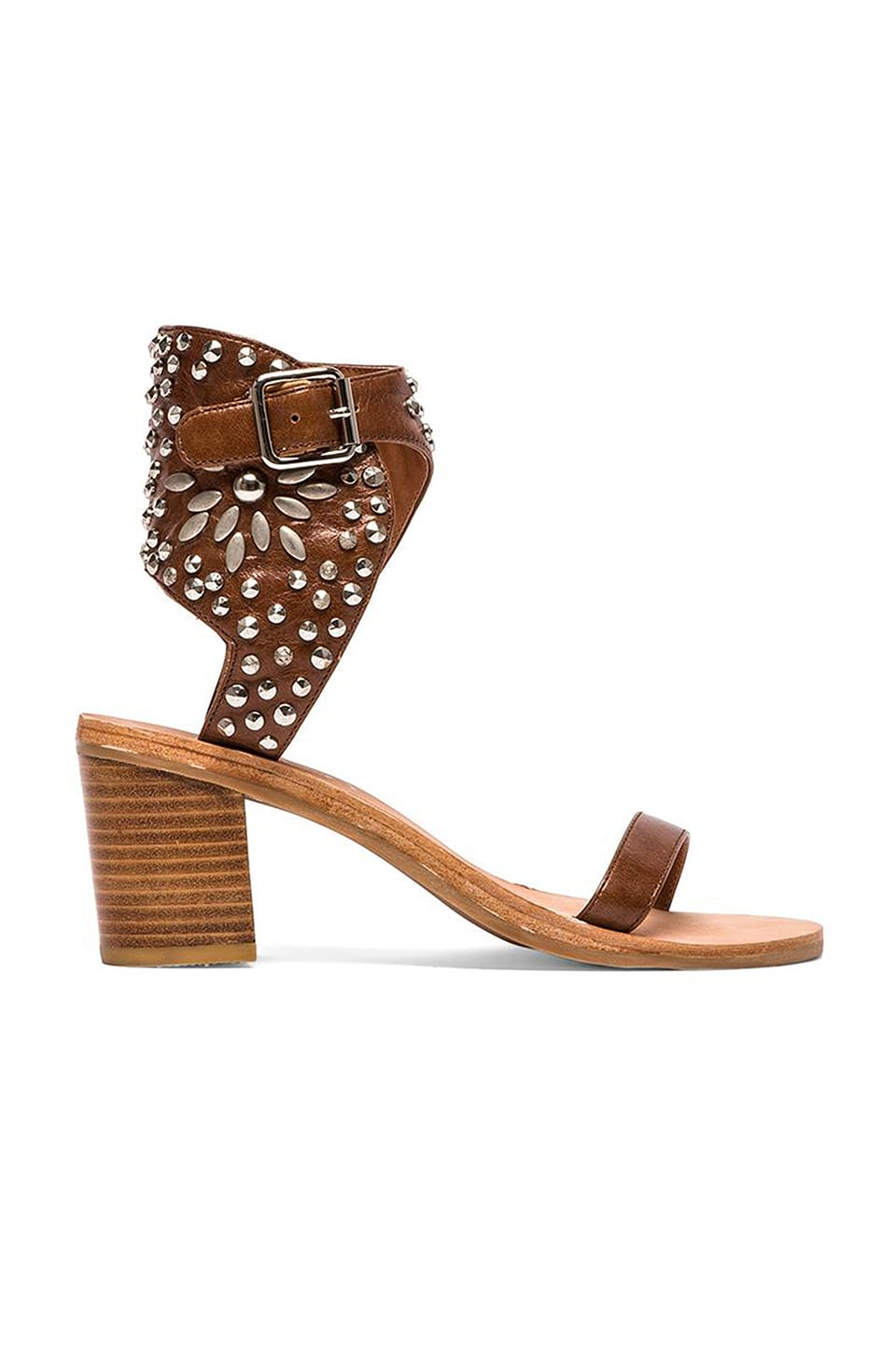 Jeffrey Campbell Des Moines Sandal in Tan & Silver