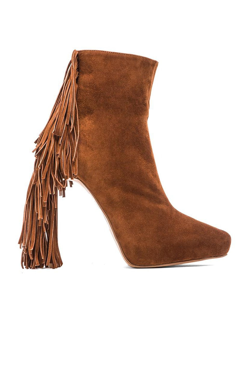 Jeffrey Campbell Sampson Fringe Heeled Bootie in Tan Suede