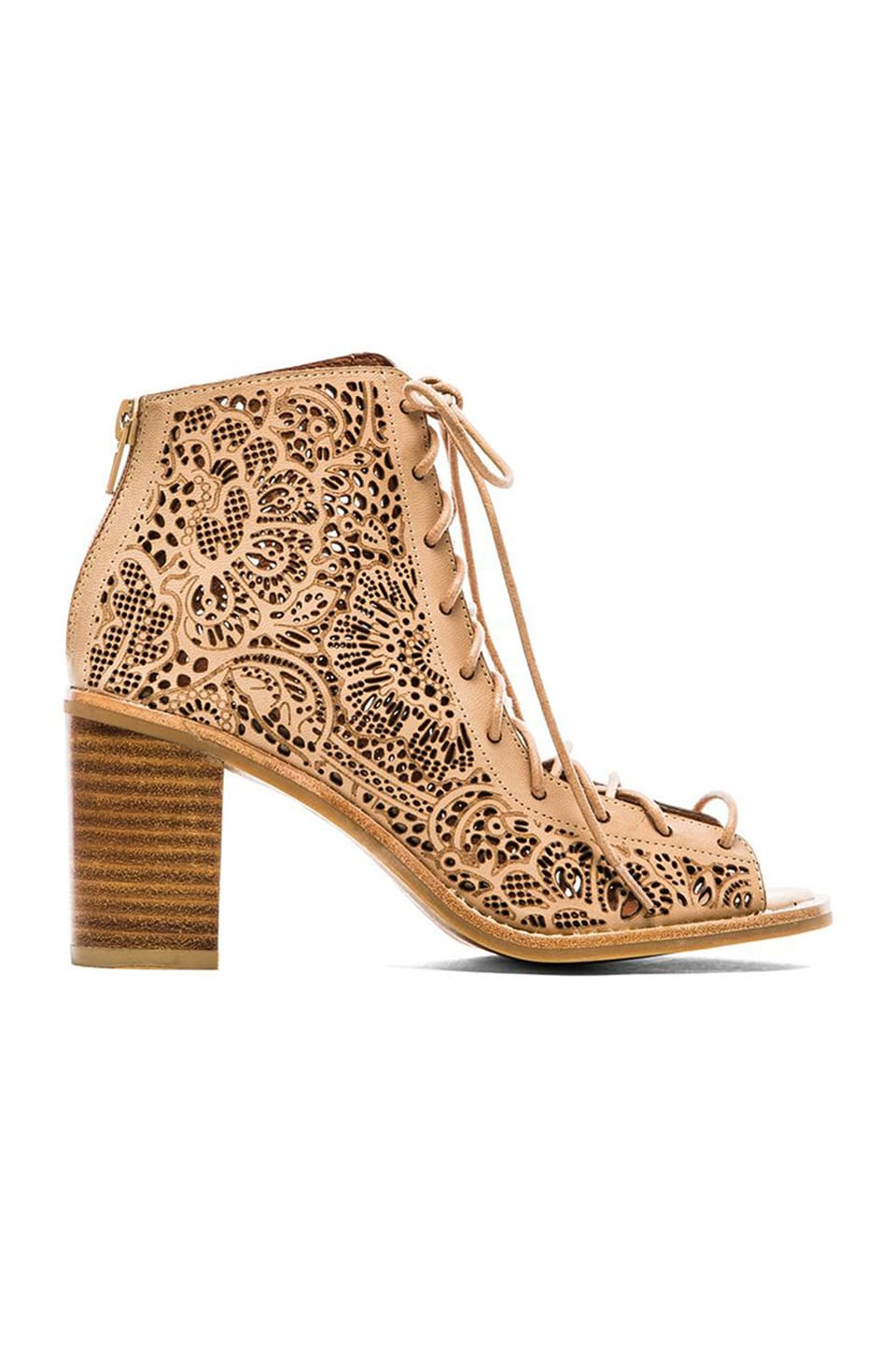 Jeffrey Campbell Cors Lace Up Sandal in Beige Bold Paisley Cut