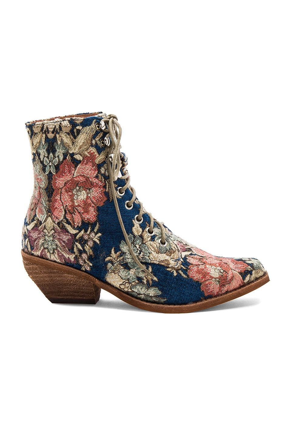 Jeffrey Campbell x REVOLVE Elmcroft Booties in Blue Beige Tapestry