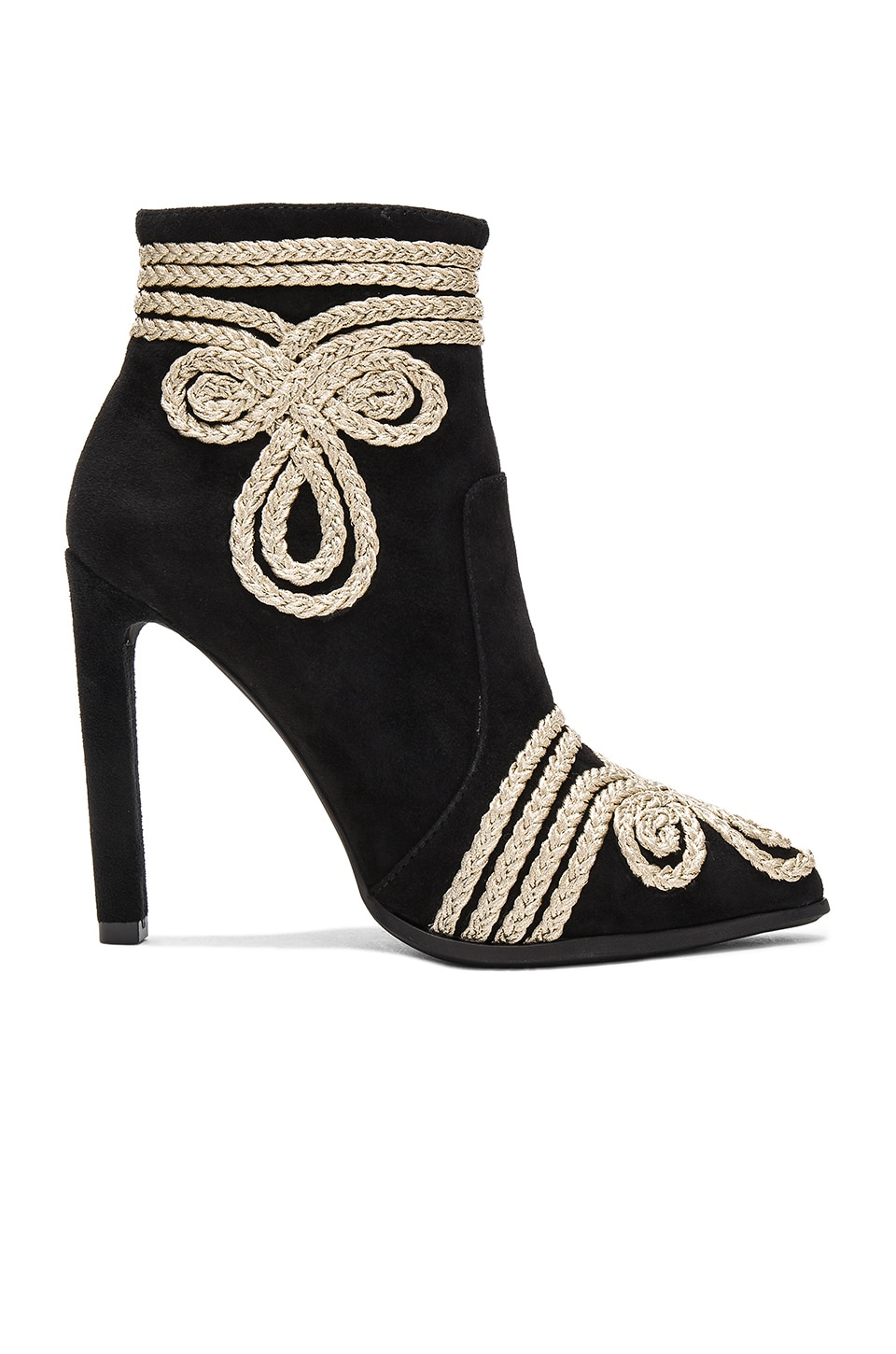 Jeffrey Campbell Drill Heels in Black Suede Gold