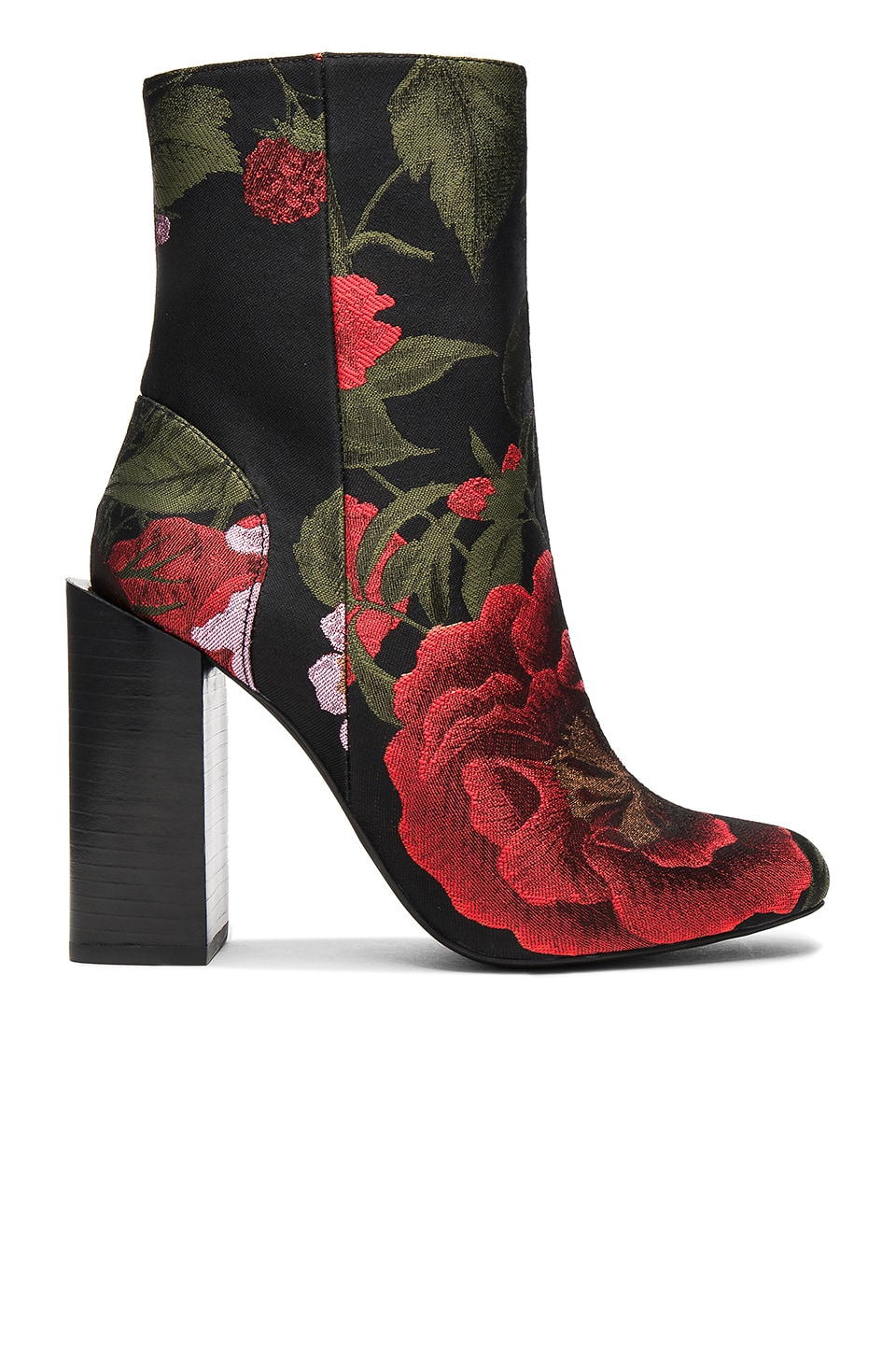Jeffrey Campbell Stratford Booties in Black Red Floral Brocade