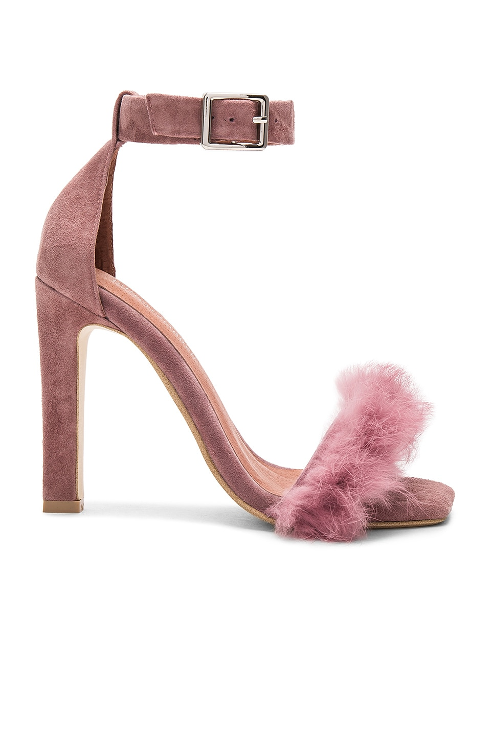 Jeffrey Campbell Obus FT Heels with Rabbit Fur in Dusty Rose Suede Combo