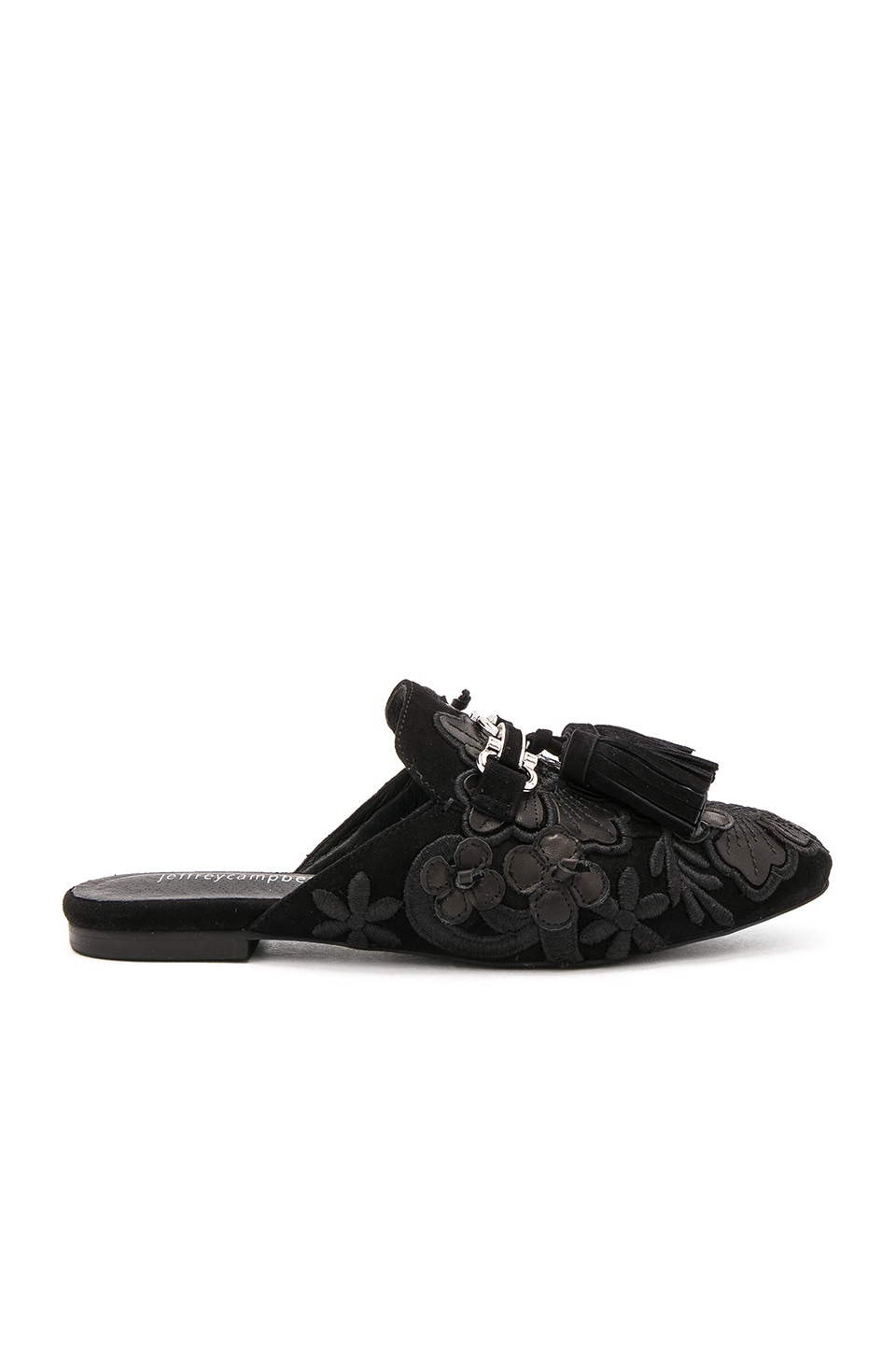 Jeffrey Campbell Ravis TSFL Slides in Black Suede Floral