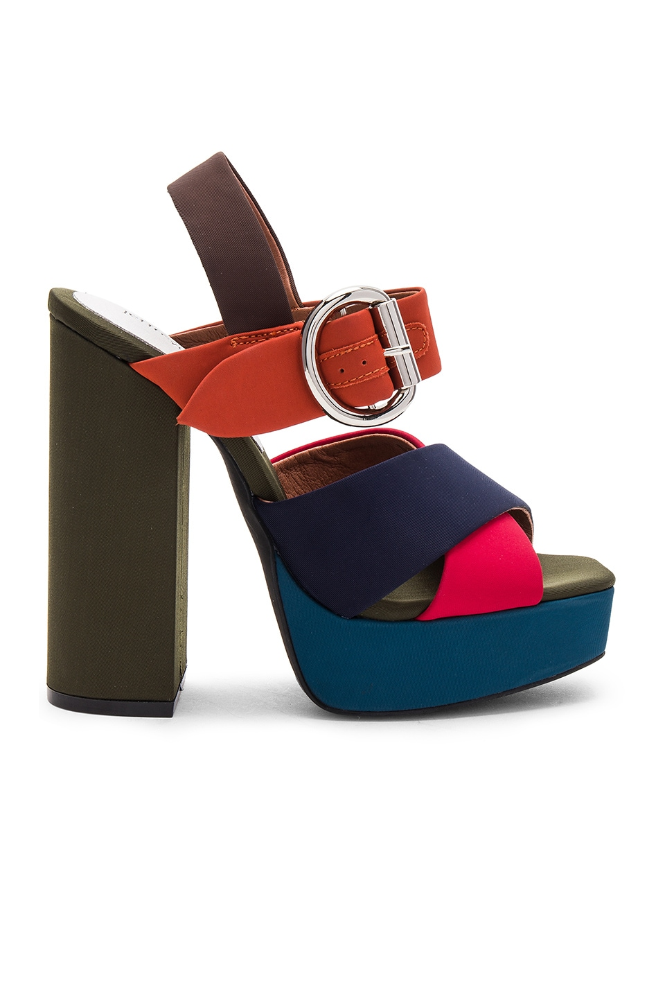 Jeffrey Campbell Elvina Heel in Bright Multi Satin Combo