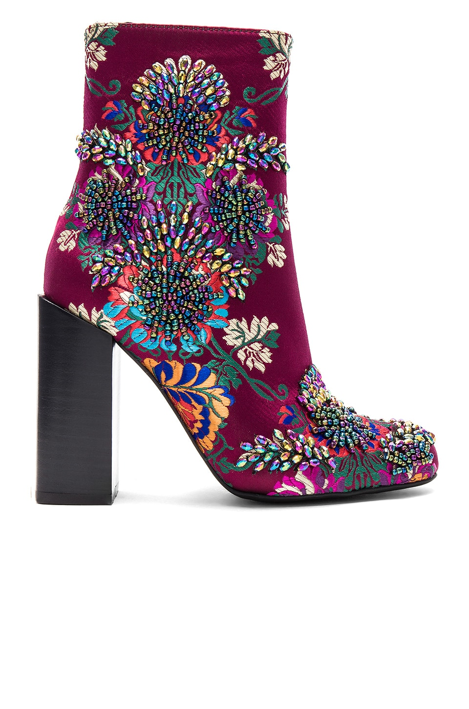 Jeffrey Campbell Beaded Stratford Bootie in Wine Multi Floral Brocade