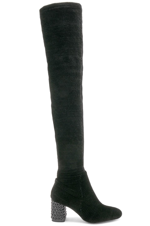 Jeffrey Campbell Cienega Boot in Black Velvet Crinkle