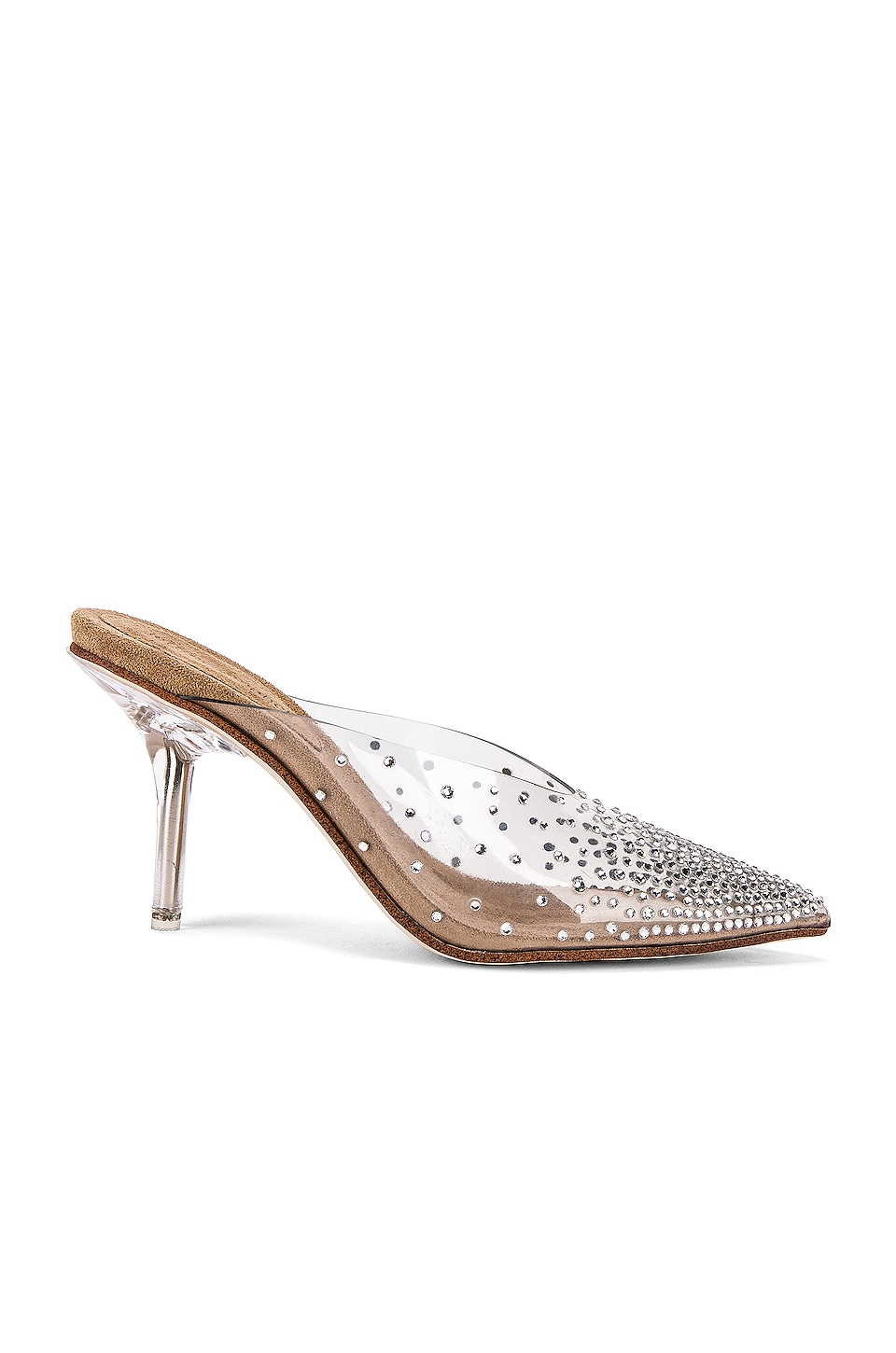 Jeffrey Campbell Drizella Mule in Clear & Nude Suede