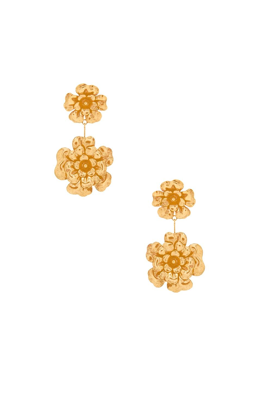 Jennifer Behr Double Floral Dangle Earrings in Gold