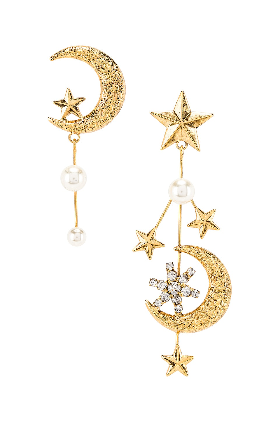 Jennifer Behr Callisto Earring in Crystal Antique Gold