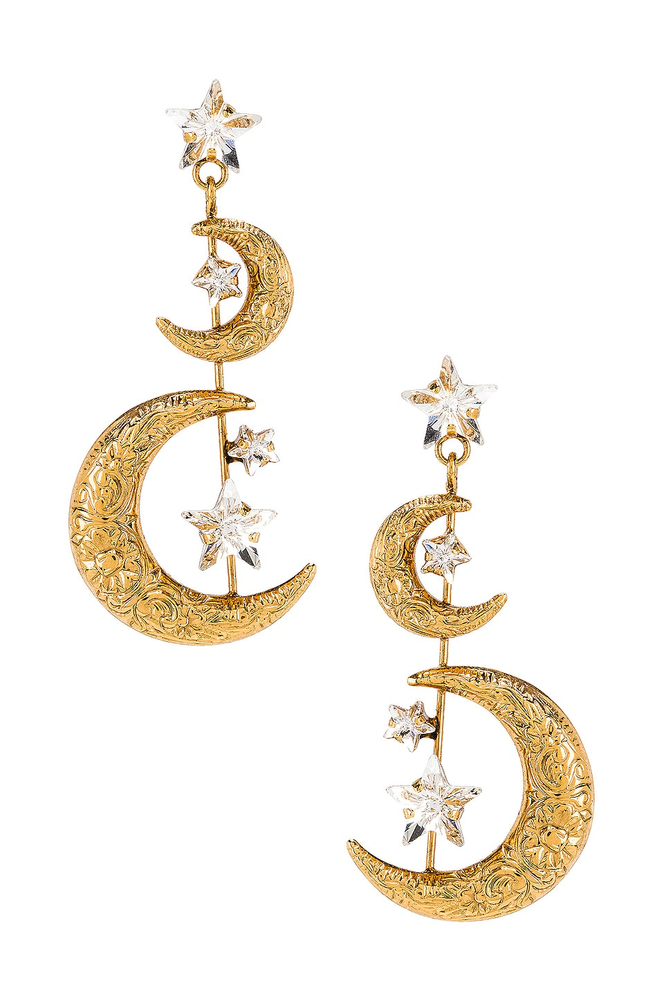 Jennifer Behr Vela Earring in Crystal Antique Gold