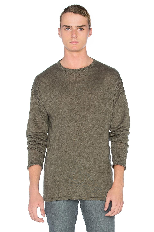 JOHN ELLIOTT Linen Mercer Sweater in Olive