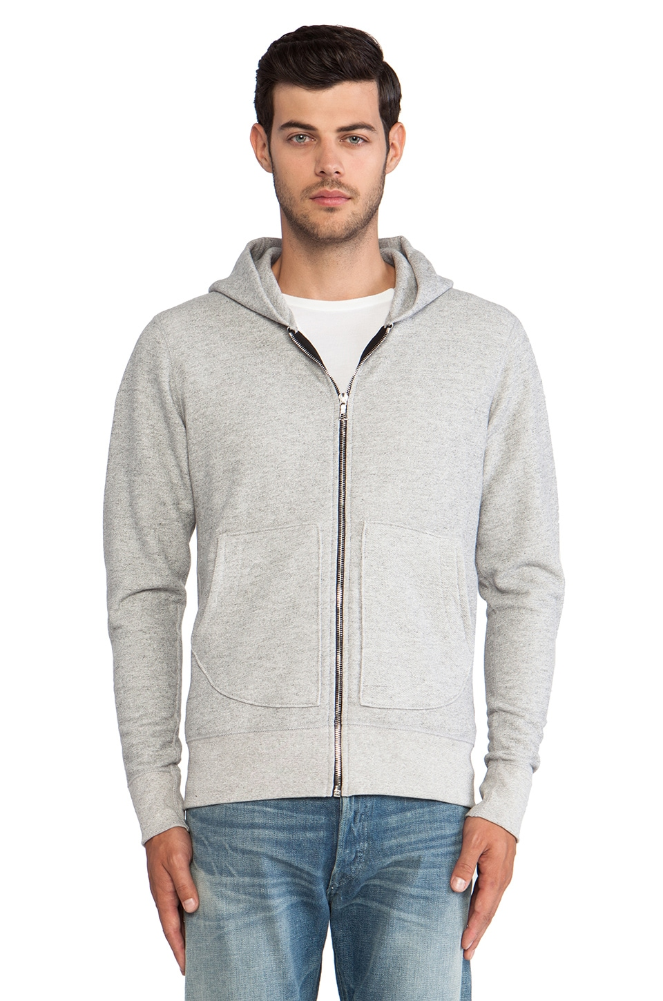 JOHN ELLIOTT Flash Full Zip Hoodie in Grey